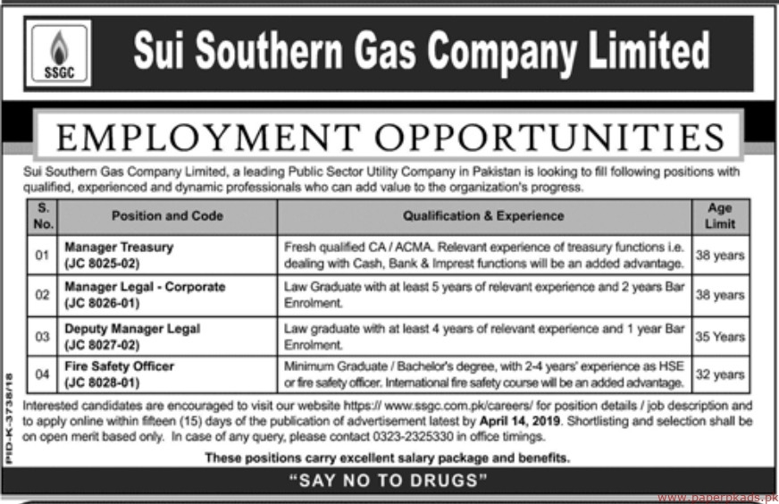 Sui Southern Gas Jobs 2019 Latest