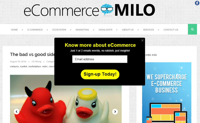 Pop-up layer at eCommerceMILO