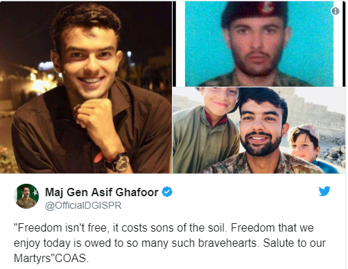 Tweet from Maj Gen Asif Ghafoor