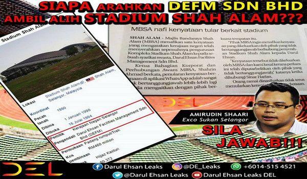 Siapa arah Stadium Shah Alam diserahkan kepad DEFM Sdn Bhd?