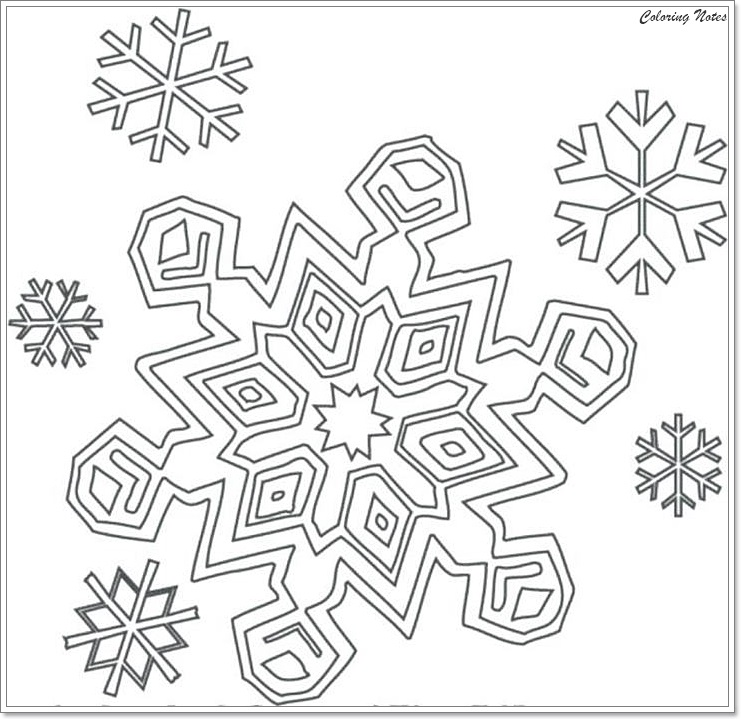 Printable Snowflake Coloring Pages For Kids | 719x741