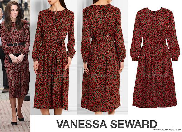 Kate Middleton wore VANESSA SEWARD Cai Floral Print Silk Jacquard Dress