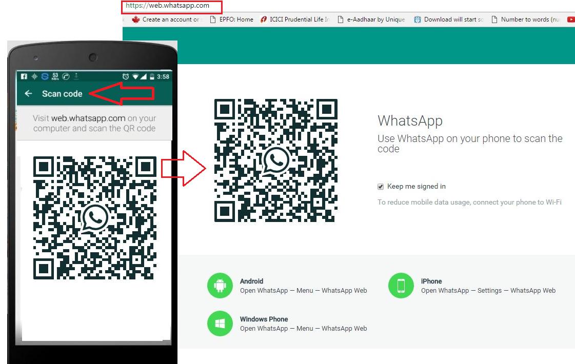 web.whatsapp.com and scan the qr code