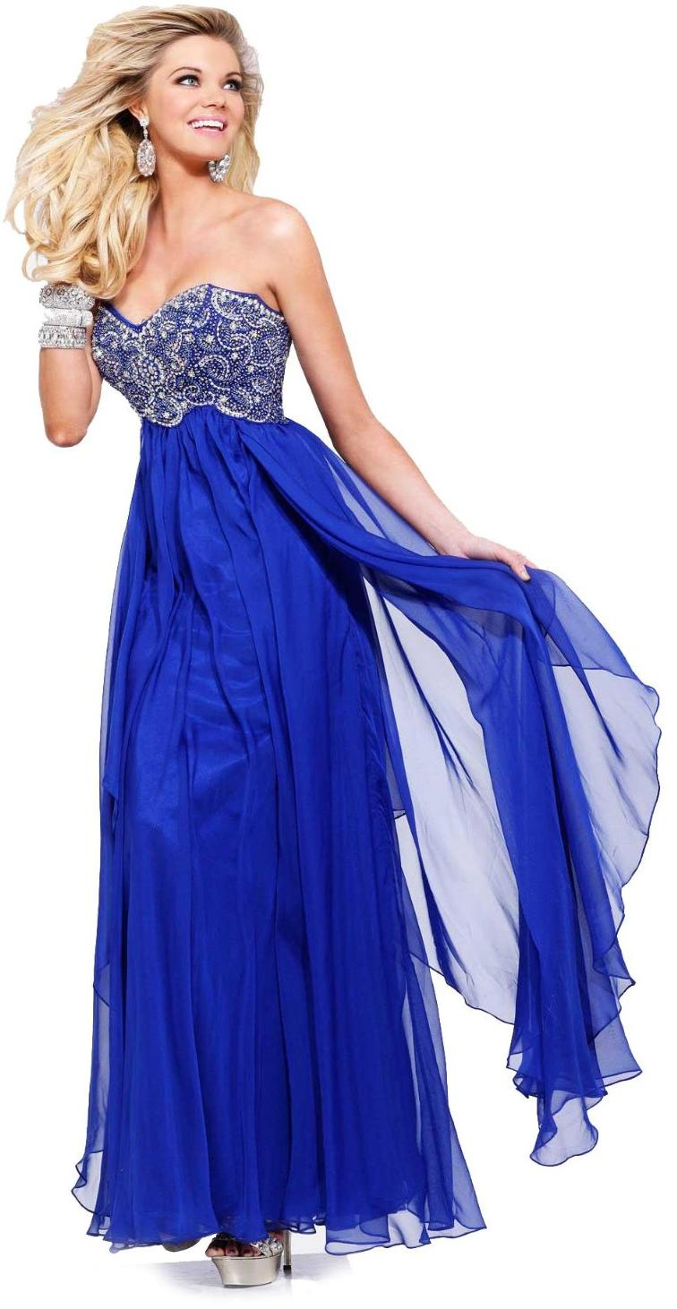 Vestido de noche azul rey strapless