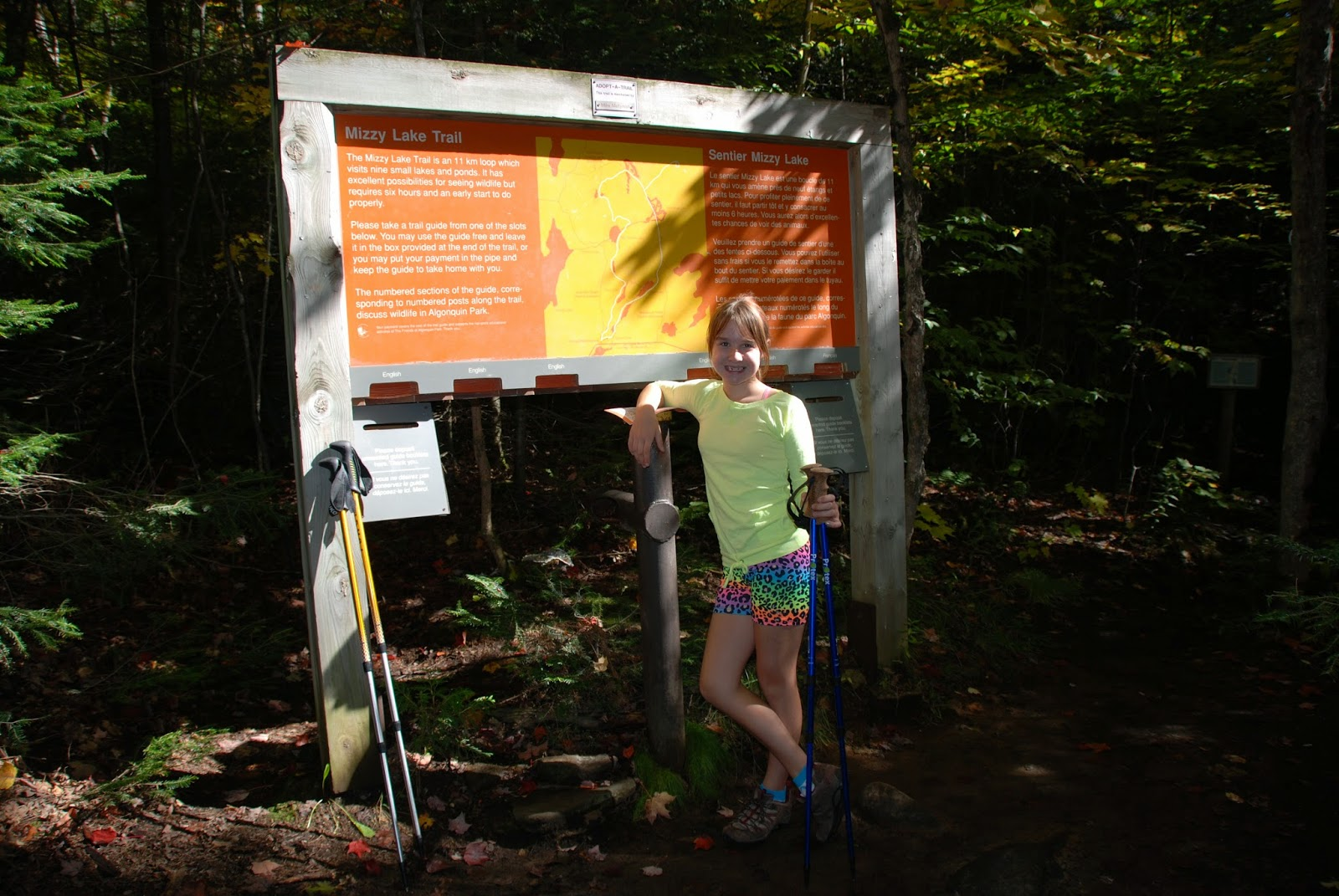 Trailhead sign at Mizzy Lake Trail