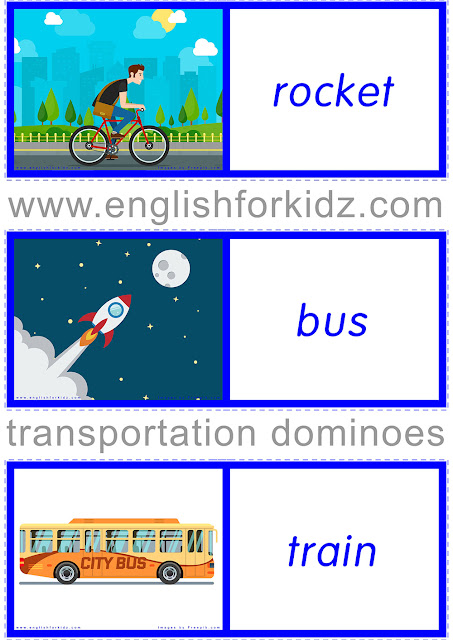 Printable transportation dominoes for ESL students