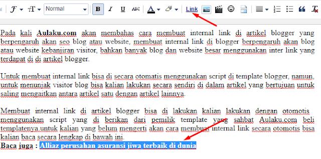 Cara Membuat Internal Link Di Artikel Blogger