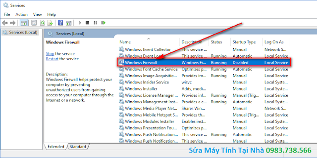 Chọn Windows Firewall