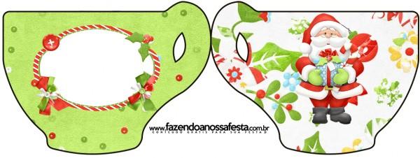 Tarjeta con forma de taza de Santa en Fondo Verde.