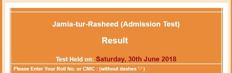 Jamia Tur Rasheed NTS Result of Admission Test June, July 2018