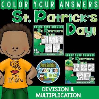Color Your Answers - St. Patrick's Day - Multiplication and Division