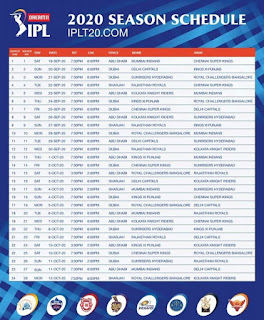IPL 2020 TIME TABLE IMAGE