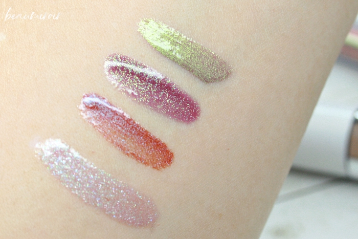swatches review almay goddess gloss mystic j.cat 3d-licious eternal chaos jordana cosmic glow iridescent purple covergirl melting pout holographic revelry