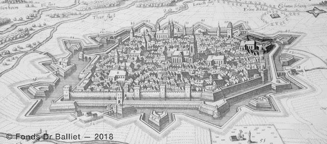 Colmar (Merian, 1643) : secteur du couvent des Catherinettes