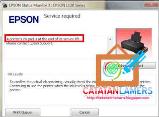 Mengatasi A Printer ink pad is at the end of the services life pada printer Epson type L120 dengan WIC Reseter