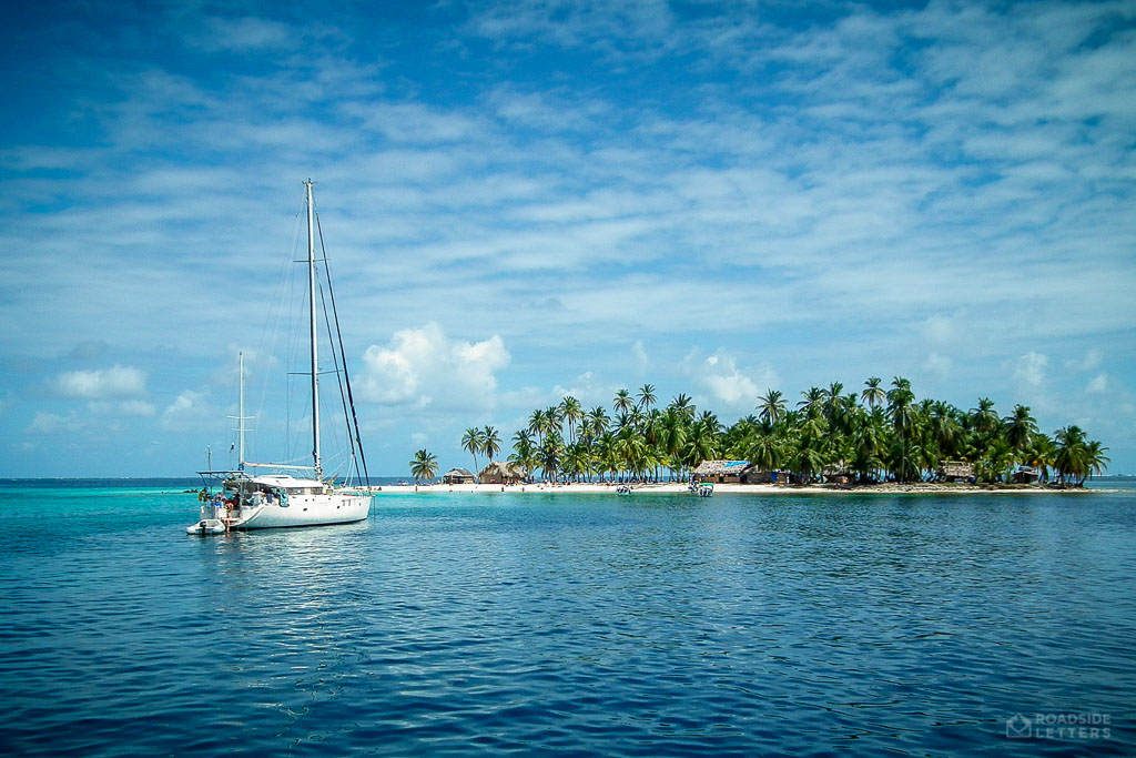 Sailboat in San Blas Islands in the Caribbean