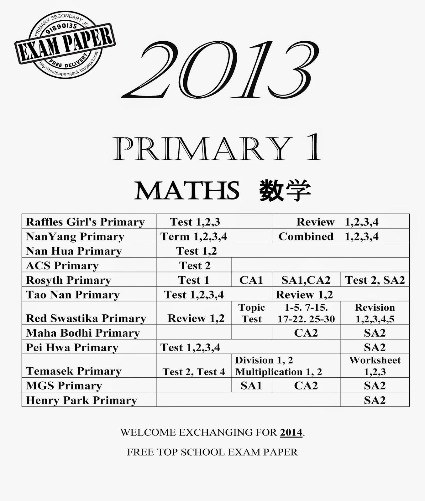 Top Primary School Exam Paper : Primary 1 2017