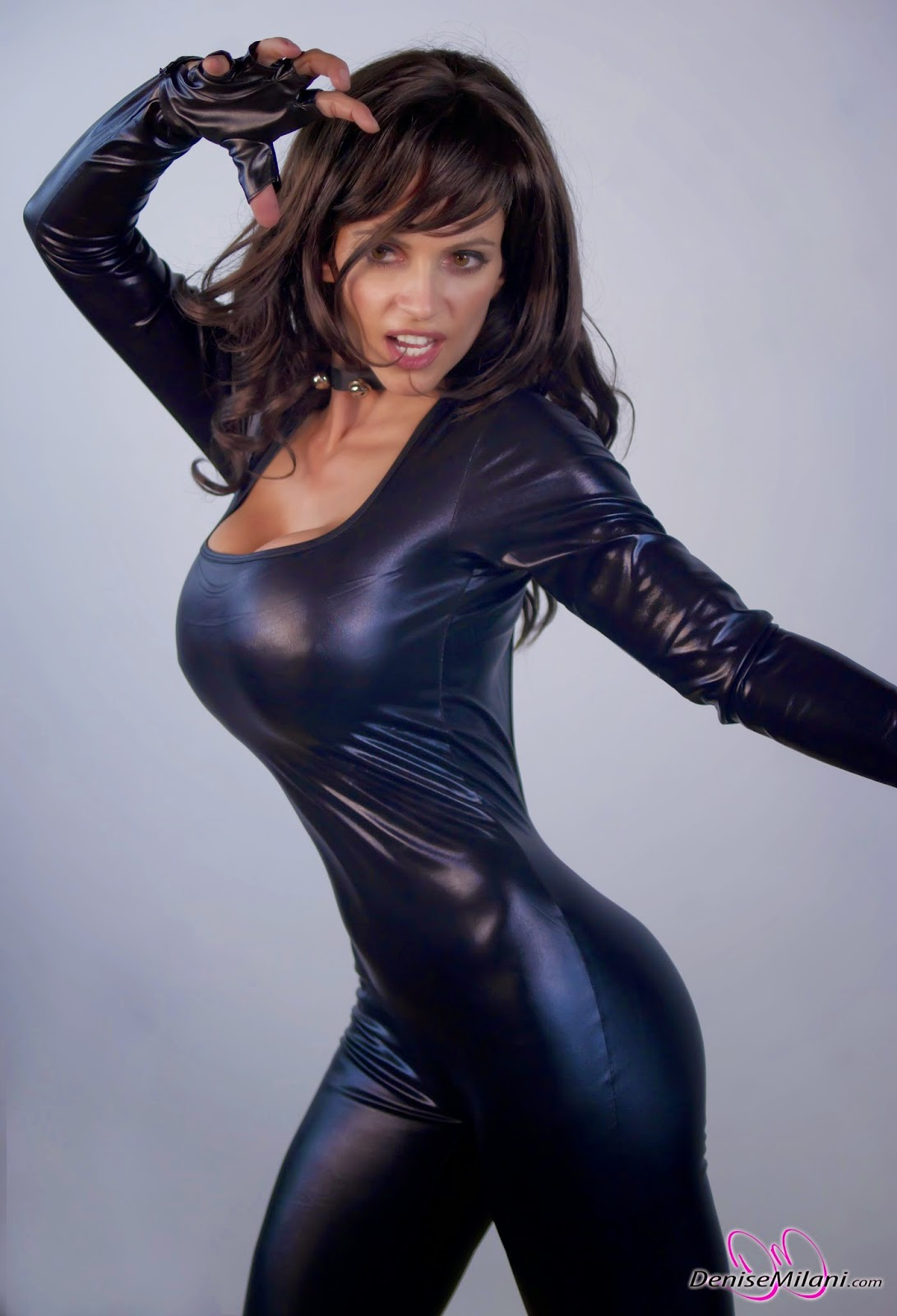 Shiny black catsuit