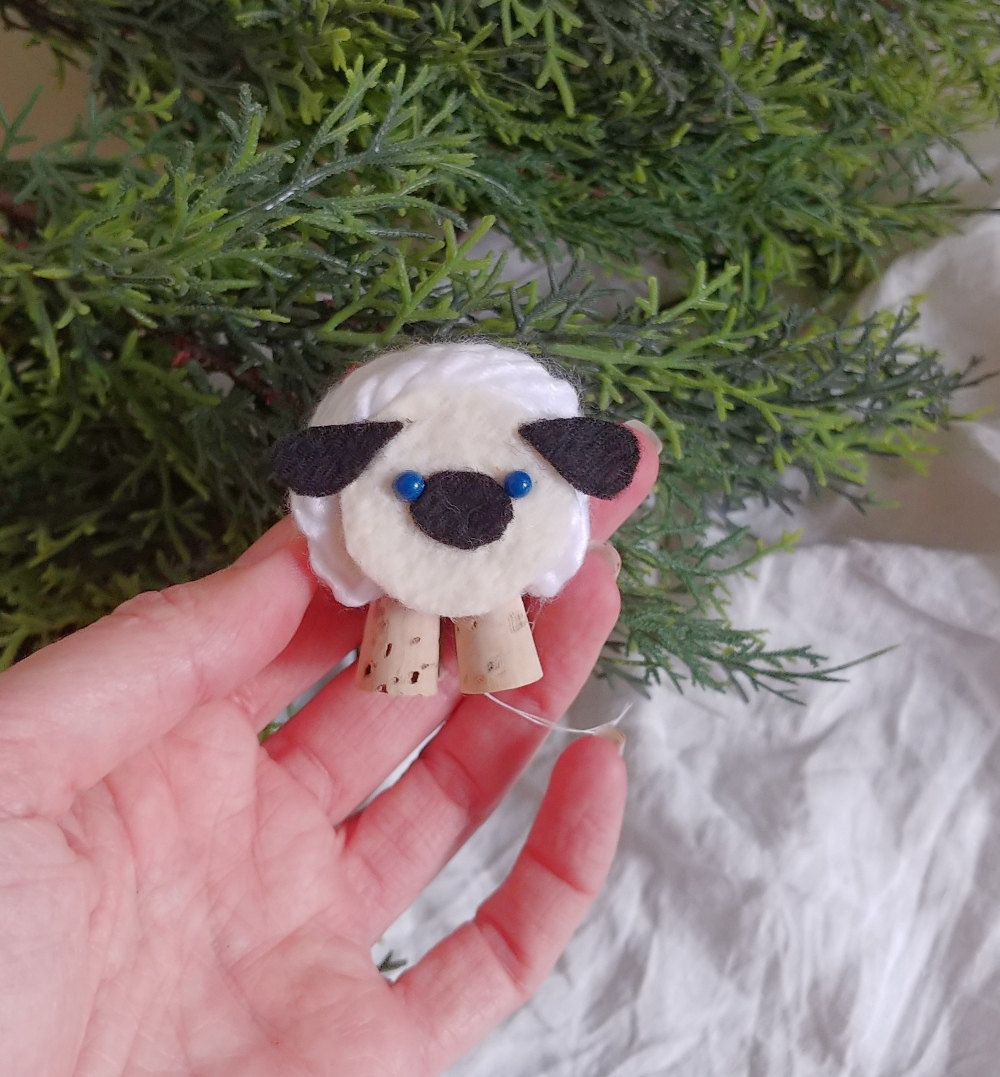 thread spool sheep ornament