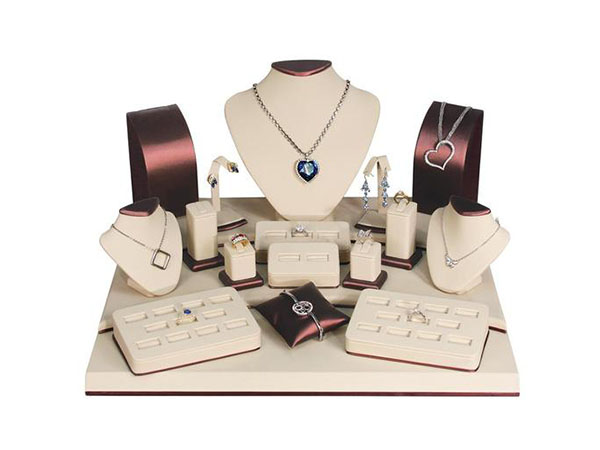 Shop the Brown & Beige Leatherette Jewelry Display 19 Piece Set at NileCorp.com