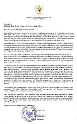 Surat Mendikbud Anies Baswedan