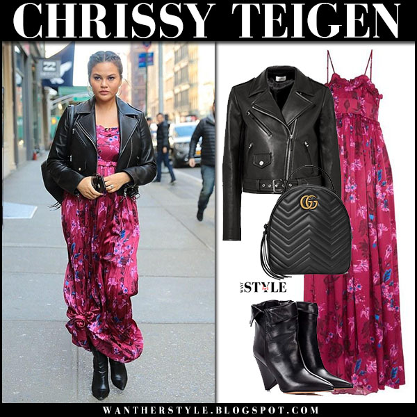 Chrissy Teigen in black leather jacket the row perlin and pink floral maxi dress balenciaga street fashion february 27