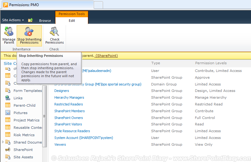 set permissions list views sharepoint 2010