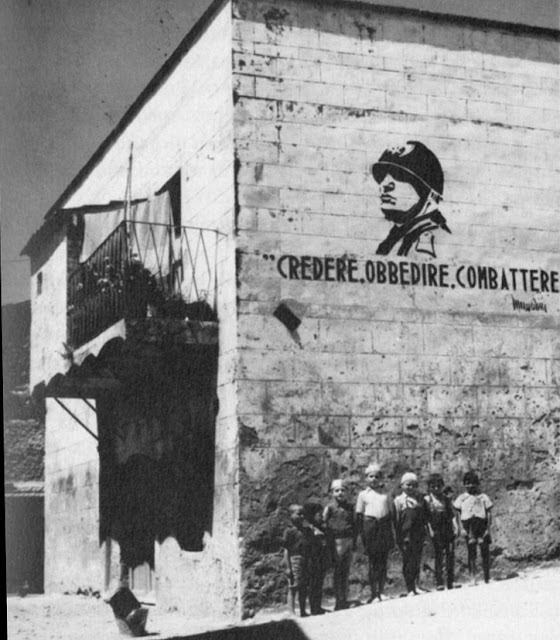 - Believe! Obey! Fight! - Fascist Italy Graffiti. WWII  Hobgoblin MarchMatron.com