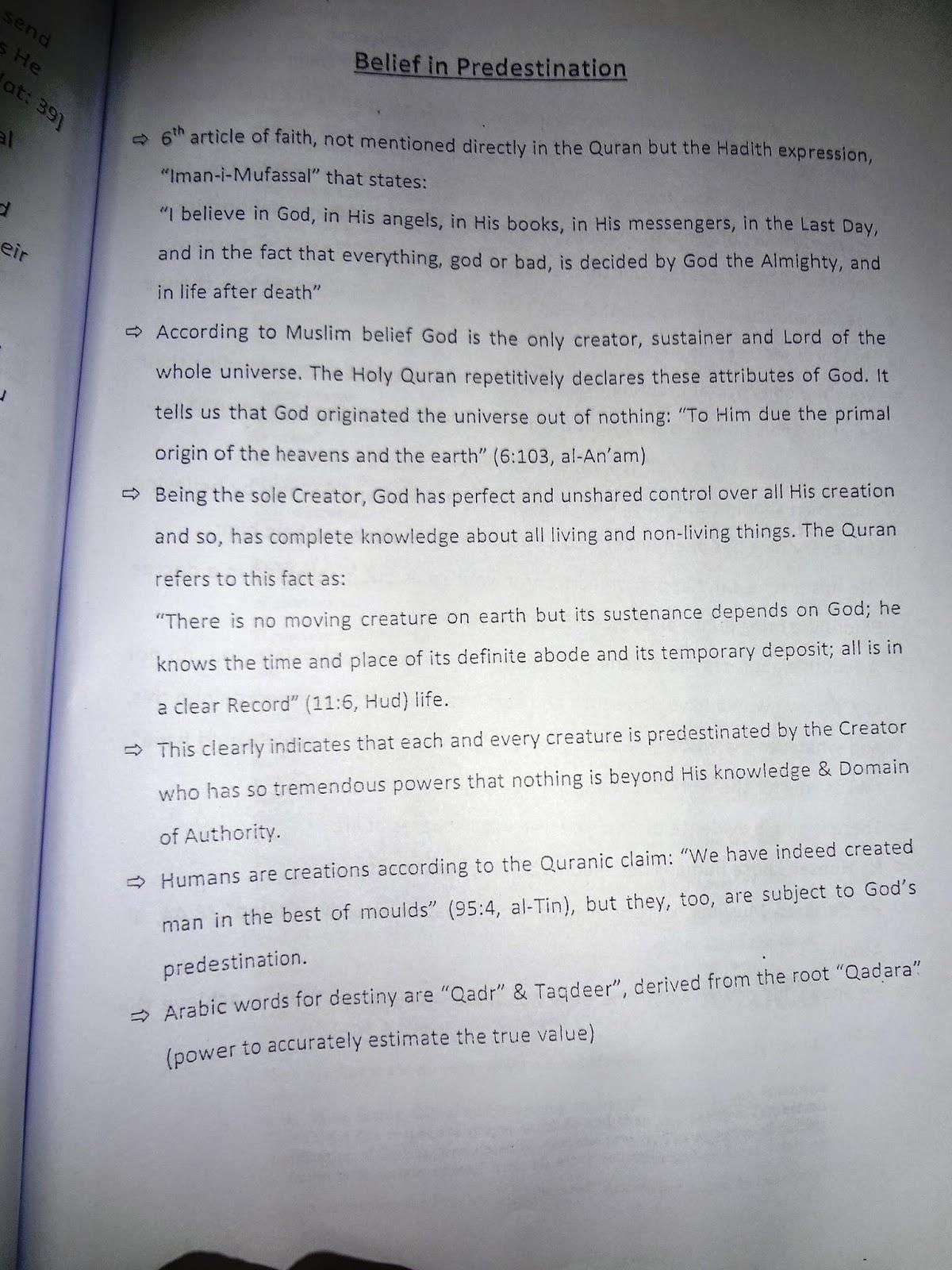 O'level Islamiyat: Articles of Faith