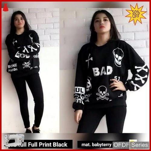 OFDF166 Atasan Blouse Danger Skull Full Print BMGShop
