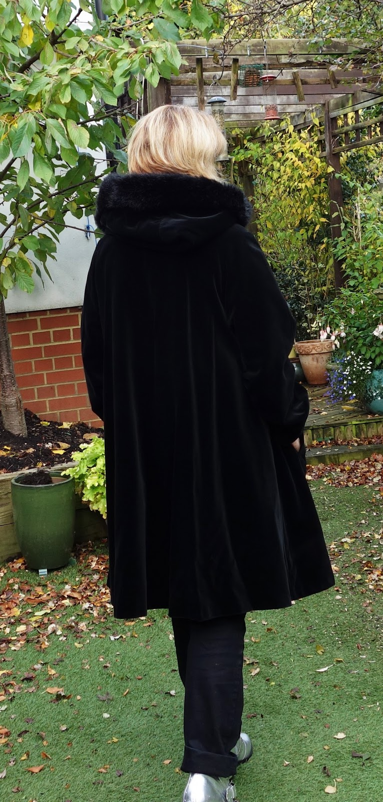 Dannimac black velvet coat with hood