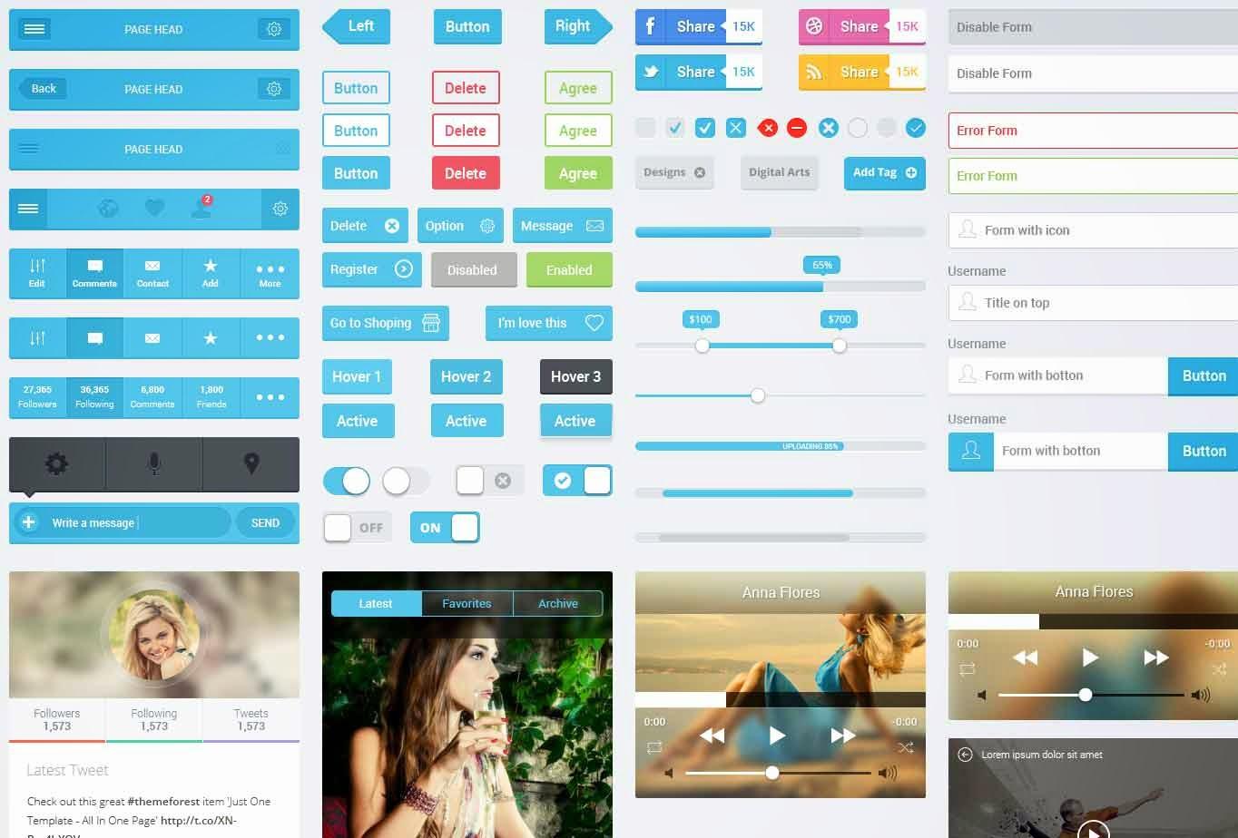Flatastic – Free Flat Mobile UI Kit