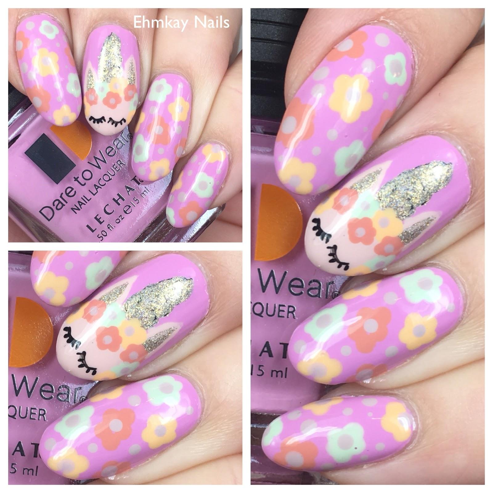 Ehmkay Nails Unicorn Nail Art With Lechat English Rose Collection