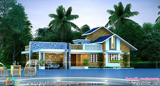 Single floor house with swimming pool