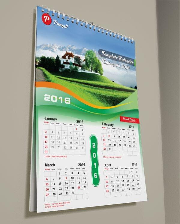 Desain Kalender dinding template corel draw 2016 vector