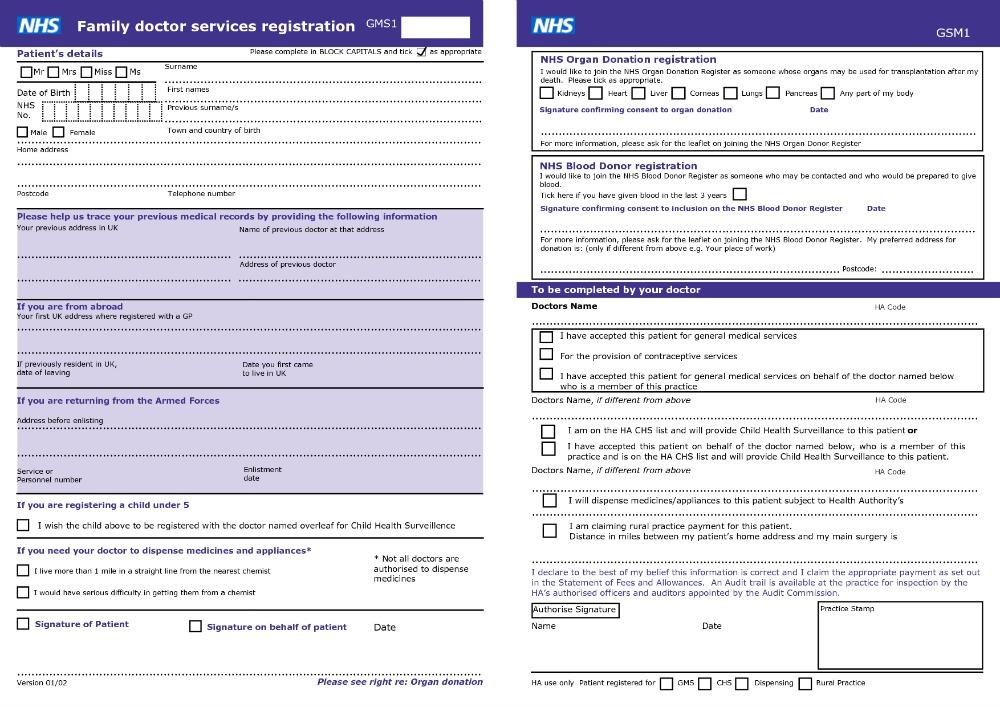 NHS Registration Form, NHS, English Health Care System