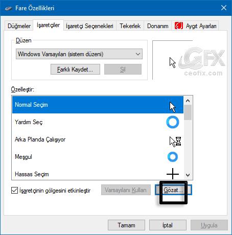 Fare özellikleri penceresi - www.ceofix.com