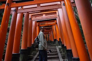 Carlos rodeado de torii rojos