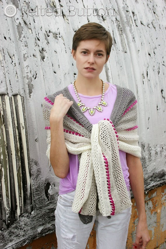 Treasures in the Sand Wrap Crochet Pattern by Susan Carlson of Felted Button--Colorful Crochet Patterns