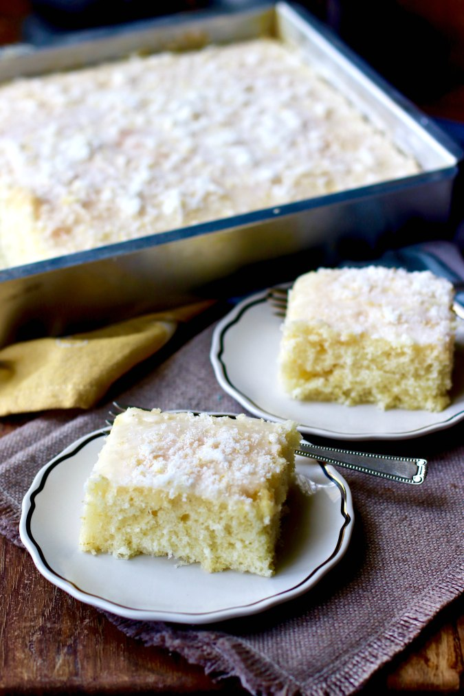 lemon buttermilk sheet cake with a lemon sugar glaze