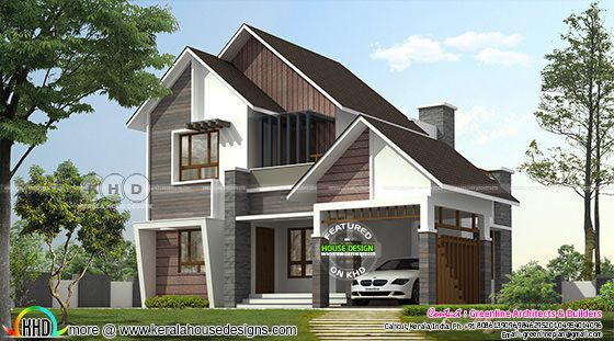 4 bedroom modern sloping roof house architecture