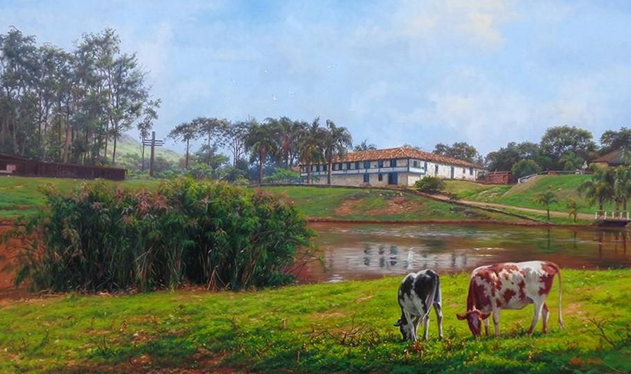 Im genes arte pinturas frescos paisajes de campos cuadros - Cuadros de vacas ...