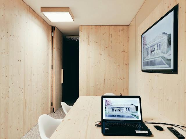 pareti in abete per ufficio
