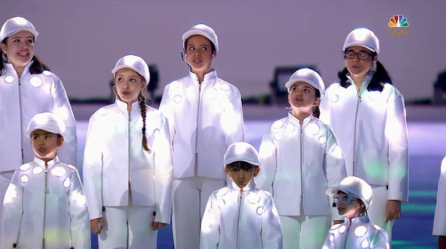 Children kids choir Brazil national anthem white suits Rio 2016 Olympic Games Closing Ceremony