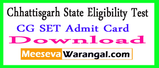 CG SET Admit Card 2017 Chhattisgarh State Eligibility Test Halltickets Download