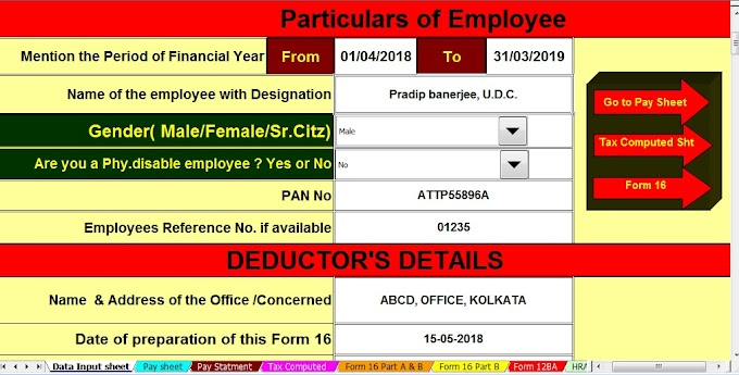 Download Automated All in One TDS on Salary for Non-Government Employees for F.Y. 2018-19 With Deductions on Section 80C, 80CCC & 80CCD