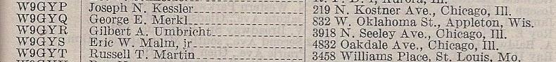 W9GYR in Amateur Radio Stations of the U.S. 1931