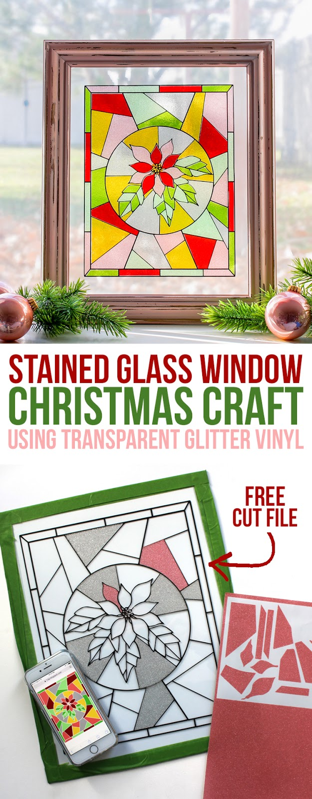 Create a beautiful faux stained glass Christmas window using transparent glitter craft vinyl. Christmas craft ideas from thecraftpatchblog.com #christmascrafts