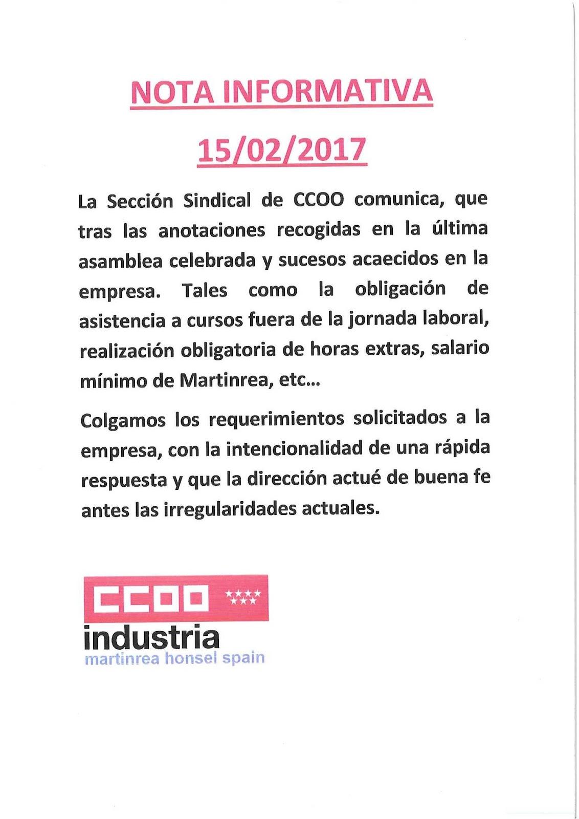 Sección Sindical de CC.OO. de MRHS: 2017