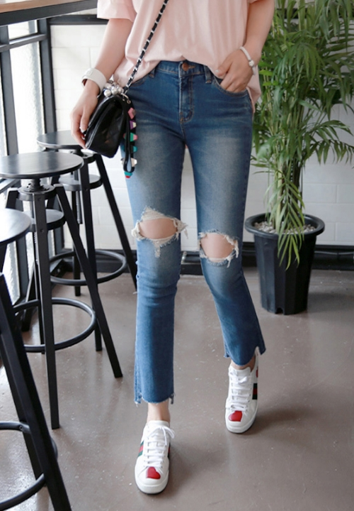 Stretch Ripped Knee Boot Cut Jeans